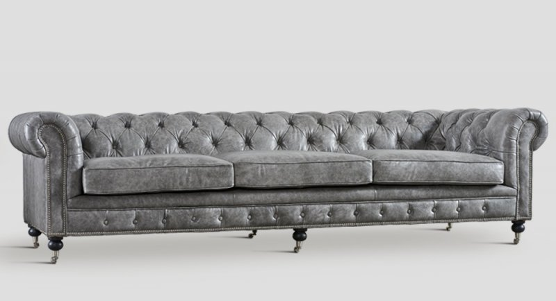 chesterfield ledersofa dialma big grau chf. Black Bedroom Furniture Sets. Home Design Ideas