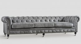 Chesterfield Ledersofa Dialma Big grau