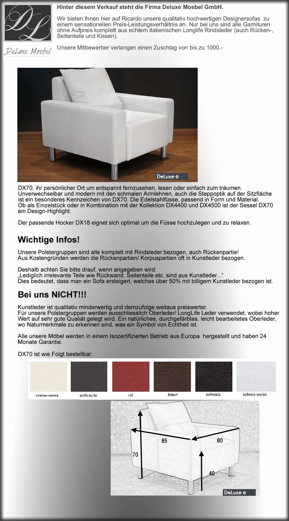 Dx70 Deluxe Designersessel In Leder Bischofszell